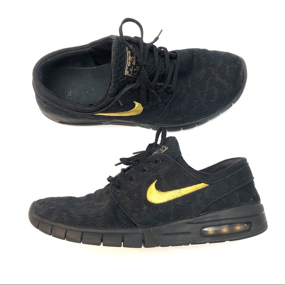 huge selection of 963d8 7a2a5 NIKE SB Stefan Janoski Air MAX Gold Black Size 9.5.  M 5c3b96b434a4efee53ed22f7